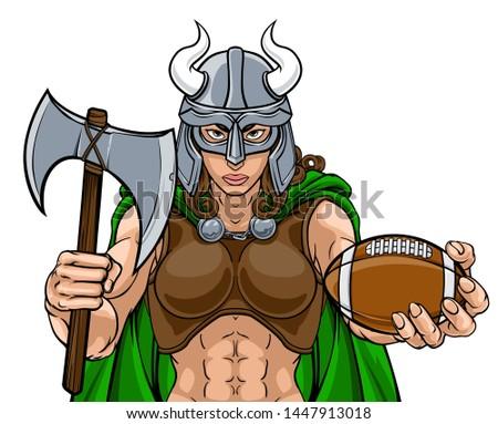 A Viking female warrior woman gladiator American football sports mascot