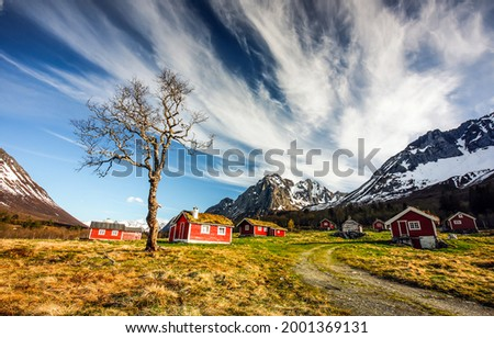 A village in the mountains. Mountain village landscape. Village in mountains