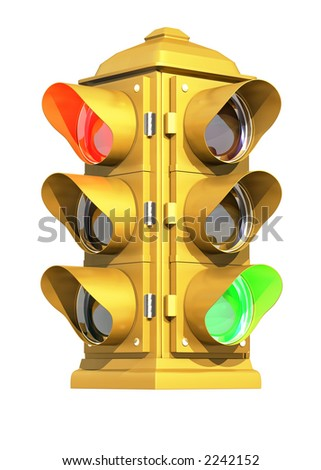 A vintage American traffic light on white background showing Red & Green signals.