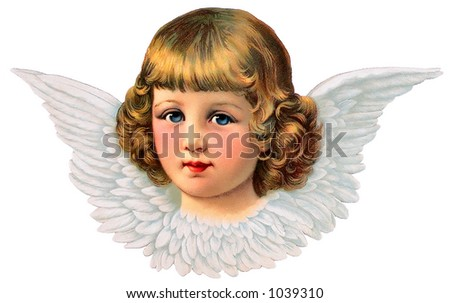 A vintage angel icon - illustration surrounded by feathered wings (circa 1887)
