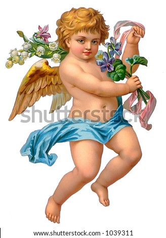 A vintage angel illustration with flowers (circa 1886) - stock photo