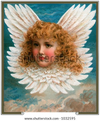 A vintage angel portrait surrounded by feathered wings (circa 1890)