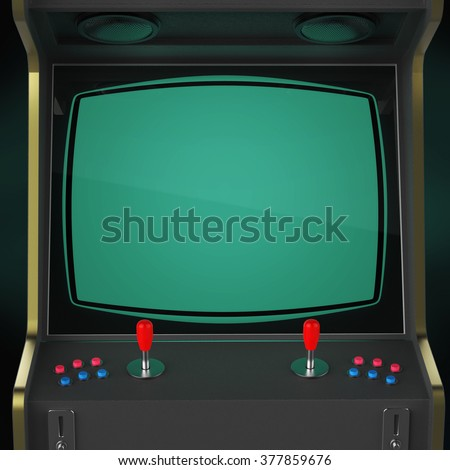 A vintage arcade game machine screen close up with colorful controllers and a screen isolated. gaming, vintage, win, poster template. high quality 3d rendering.