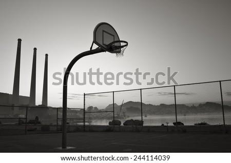 A vintage basketball hoop in California.