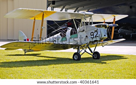 A vintage bi-plane at Hood Aerodrome, Masterton, New Zealand