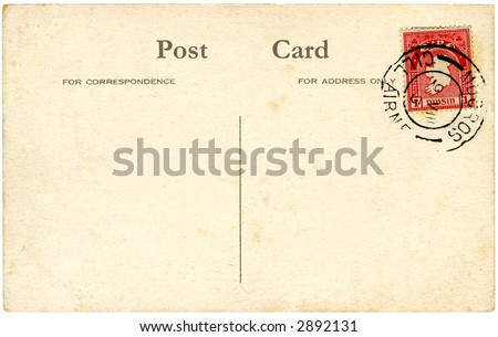 A vintage blank Irish postcard with a red stamp and space for text.