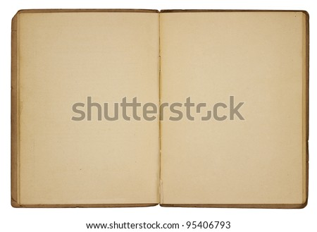A vintage booklet viewed from above and opened to reveal blank, yellowing pages with rough, creased edges and dog-eared corners. Isolated on white. Includes clipping path.