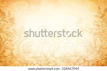 A vintage brown and yellow background with border design elements of faded flowers and faint grunge texture.
