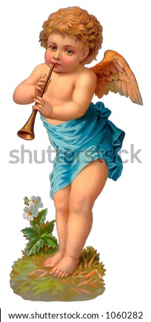 A vintage cherub illustration with flute - circa 1885 (see also other paired angel - search on ''RLIT0098'')