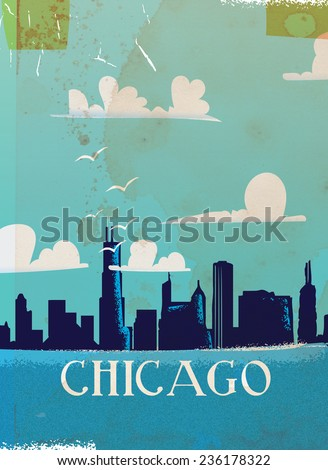 A vintage Chicago travel vacation poster art featuring a skyline illustration of the famous city.