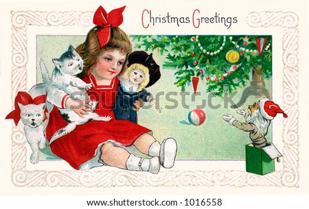 A vintage Christmas greeting card illustration of a little girl playing with toys under the Xmas tree (circa 1901)