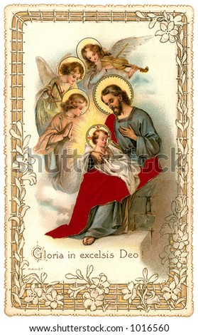 A vintage Christmas nativity greeting card with angels (circa 1898) - stock photo