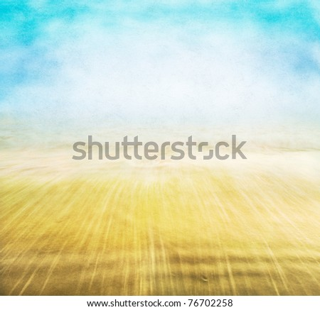 A vintage coastal seascape with background fog and sky, and blurred water motion with a textured paper overlay.  Image displays an attractive paper grain and fibers at 100%.