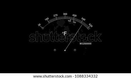 A vintage 3d illustration of a temperature gauge with a white long arrow and two indicating white lines with high numbers and Fahrenheit symbol in the black background.