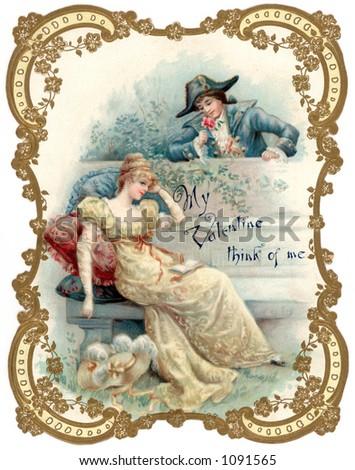 A vintage die-cut Valentine card illustration, ''My Valentine - think of me'' - circa 1878 (but, depicting 18th Century romance)