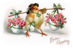 A vintage Easter greeting card illustration, circa 1910