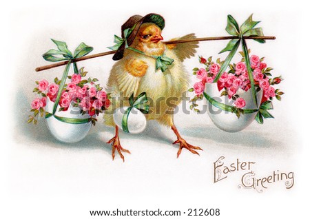 A vintage Easter greeting card illustration, circa 1910