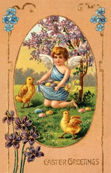 A vintage Easter greeting card illustration of cherub gathering Easter eggs (circa 1908)
