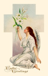 A vintage Easter illustration of an angel holding Easter Lilies (circa 1911)