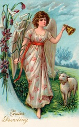 A vintage Easter illustration of an angel leading sheep to pasture (circa 1910)