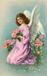 A vintage Easter illustration of an angel picking flowers (circa 1907)
