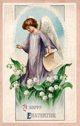 A vintage Easter illustration of an angel standing among Lily of the Valley flowers (circa 1912)