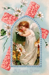 A vintage Easter illustration of an cherub ssmelling daisies flowers (circa 1909)