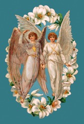 A vintage Easter illustration of two angels framed by Lilies (circa 1902)