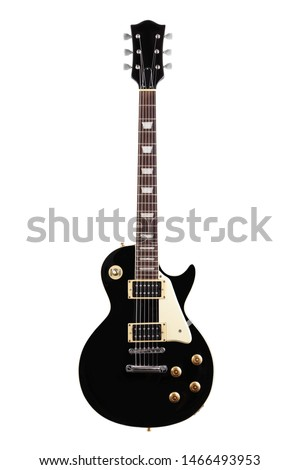 A vintage electric guitar isolated on white with clipping path
