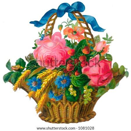 A vintage floral basket illustration (circa 1882)