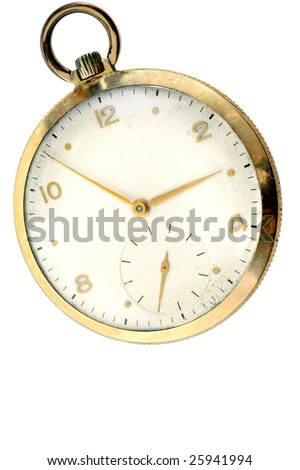 A vintage gold  pocket watch, very worn, isolated on white with copy space.