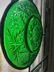 A vintage green depression glass bowl