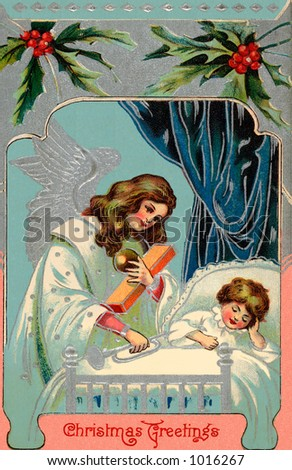 A vintage greeting card illustration of a Christmas angel giving gifts at a child's bedside (circa 1890)