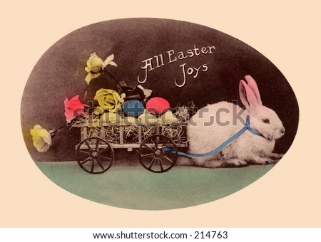 A vintage, hand-tinted photograph, used as an Easter greeting card, circa 1910