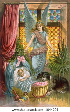 A vintage illustration of a baby being watched over by its guardian angel, and a Saint Bernard dog (circa 1884)