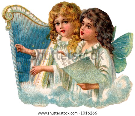 A vintage illustration of little angels singing (circa 1890)