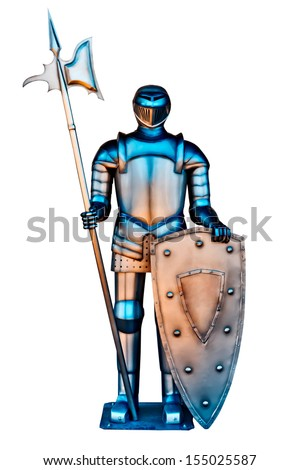 A vintage Iron Knight with spear and heraldic shield isolated on white background