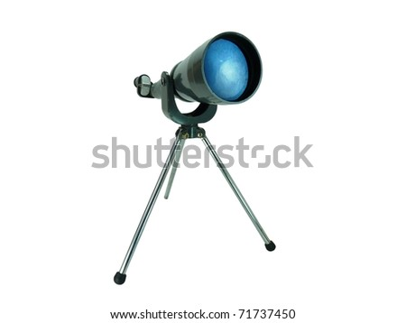 a vintage metal telescope set up for viewing the stars isolated on white with a clipping path - stock photo