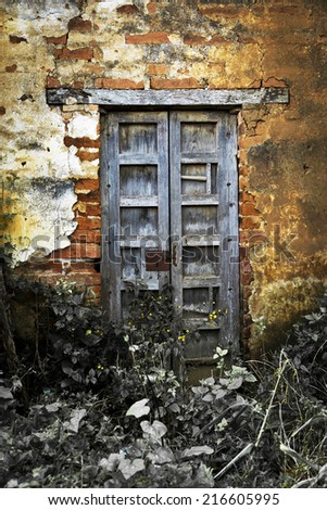 A vintage old wood door on the town of Jalisco, Mexico, America