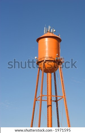 A vintage orange watertower...blank and ready for copy.