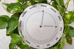 A vintage stainless  pregnancy calculator or pregnancy wheel  in textured  background with space for text. Pregnancy and menstrual calendar, obstetric calculator, cycle calendar for pregnant woman.