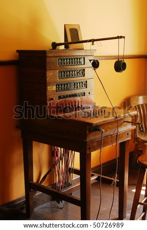 A vintage telephone switchboard, it was used in around 1900, now many antiques like this have been kept well for display in the fort edmonton park, edmonton, alberta, canada