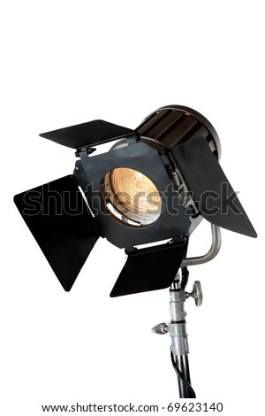 A vintage theater spotlight isolated on a white background