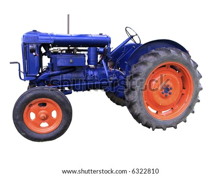 A vintage Tractor isolated with clipping path