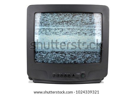 A vintage tube television with a static glitch texture displayed on the screen. #1024339321