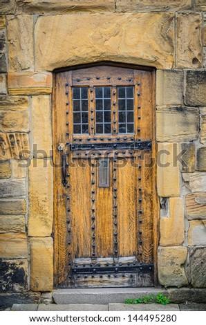A Vintage Tudor wooden door in England, UK