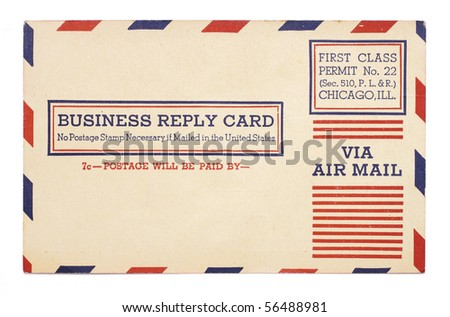A vintage United States first class, airmail business reply card with red and blue stripes around border.