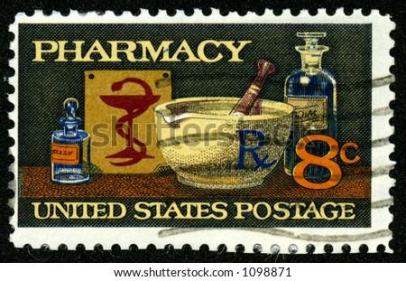 A vintage US postage stamp depicting pharmacy, eight 8 cents