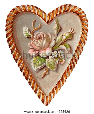 A vintage Valentine illustration of a sculptured heart and rose (circa 1890)