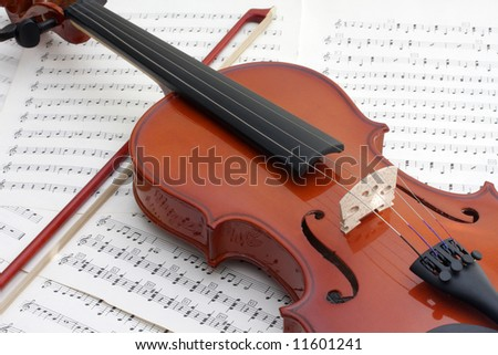 A violin rests against the sheet music to be played